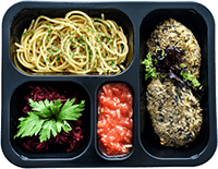 vegetarian diet box with fish