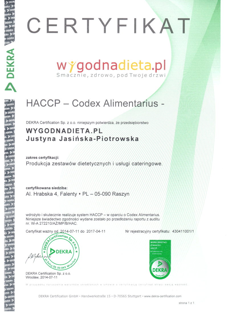Wygodnadieta diet catering haccp below there is our haccp certificate 1betcityfo Gallery